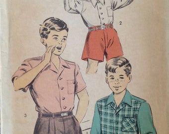 """Vintage 40s Boys Shirt Pattern 12 1/2""""- 13 1/2"""" neck"""