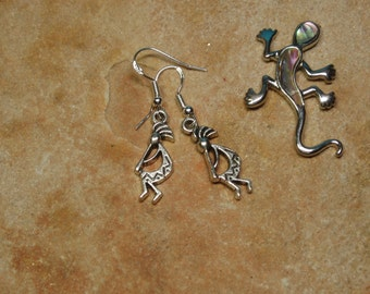 Solid Stamped 925 Silver Handmade Kokopelli Hopi Indian Peace Pipe Earrings