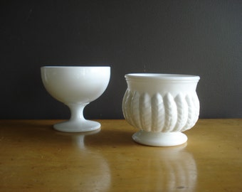 Milky Pair - the Sweetest set of Two Milkglass Vases or Compotes - Very Opaque Milk Glass