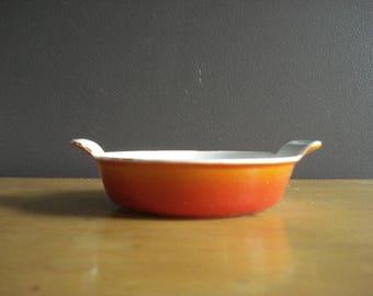 Orange Gradient - Vintage Orange Red Descoware Enamel Mini Casserole Dish - Made in Belgium