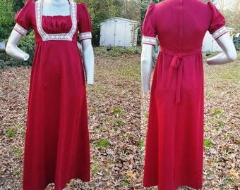 60s Prom Dress, Vintage Maxi Dress, 60s Costume, Double Knit Dress, 60s Dress in Maroon with Lace Trim by Pommy Jrs. US Size 6