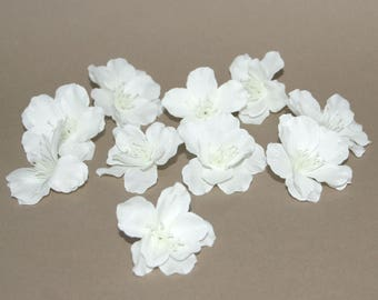 10 White Sakura or Japanese Cherry Blossoms - Artificial Flowers, Silk Blossoms