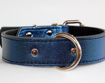 Metalic Blue Leather Dog Collar, Italian Leather Blue Collar - Blue Leather Dog Collar