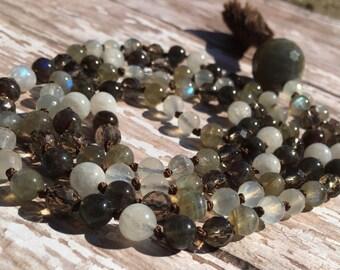 Labradorite, moonstone, smoky quartz, and black labradorite mala beads