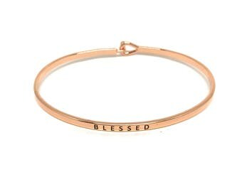 Blessed Bangle, Thin Rose Gold Bangle, Simple Rose Gold Bangle Bracelet, Rose Gold Engraved Bangle, Handstamped, Stacking Bracelet