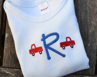Boys Monogrammed Truck Tee - Monogrammed Shirt with Mini Trucks