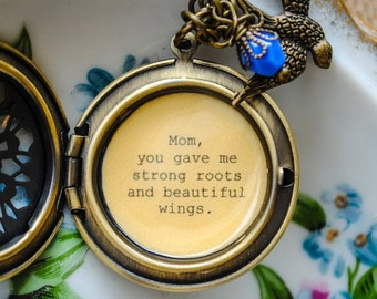 Mom you gave me strong roots and beautiful wings - mother locket - mom gift - Mother's Day