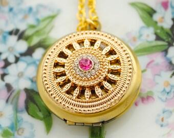 Pink Rhinestone Keepsake Locket - Photo Locket - Gold Locket