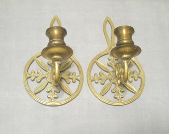 Vintage Ornate Brass Wall Sconce Snowflake Design Set of 2 / Candlestick Candle Holders Rustic Christmas Decor Winter Cabin Holiday Accent