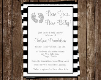 New Year, Baby Shower Invitations, Black, Silver, New, Year, Baby, Customized, Glitter, Stripes, 10 Printed Invites, FREE Shipping, Custom