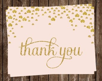 Hearts, Bridal Shower, Thank you Cards, Blush, Gold, Confetti, Champagne, Wedding, Glitter, Love, 24 Folding Notes, FREE Shipping, Birthday