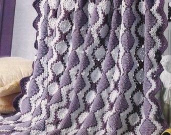 Crochet Afghan Pattern - Lavender & Lace - Pattern No. CR955521