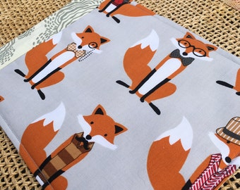Snack Mat, Mug Rug, Cute Fox With Gray Background