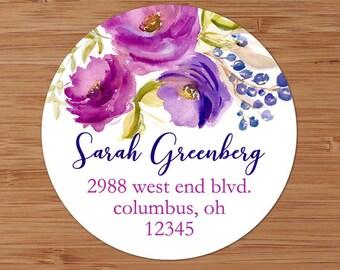 Fuchsia Purple Watercolor Flowers - Custom Address Labels or Stickers
