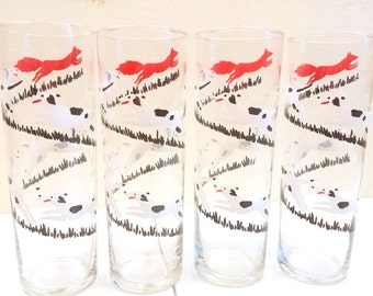 Mid Century Fox and Hounds Tall Drinking Glasses Barware Set of Four