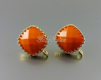 2 pcs / 1 pair opaque orange glass earrings in gold setting, orange stone earrings 5155G-OR