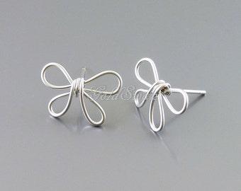 1 pair / 2 pcs handmade hand formed butterfly shape wire work earrings, matte silver wire wrapped butterfly earrings 2095-MR
