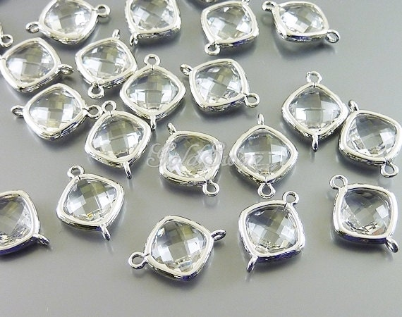 2 clear crystal small faceted glass connectors for linking necklace, dangle earrings, bracelets 5063R-CL