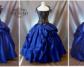 silk wedding gown-blue wedding gown-sari wedding dress-masquerade-gothic-steampunk-alternative-the secret boutique-custom gown-corset gown