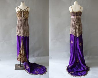 Iris dress   Poiret inspired purple velvet gown with gold lace and beads   1920's by cubevintage   extrasmall to small