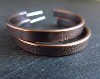 Bronze hoop earrings, leaf vein bronze hoops, vein textured, hoop and post earrings, bronze wedding anniversary gift, antique bronze patina
