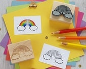 Rainbow Rubber Stamp - Rainbow Colouring In Rubber Stamp  - Stocking Stuffer - Rainbow Gift - Gift for Cloud Lover - Rainbow Stamper - Cloud