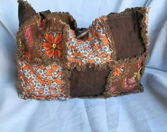 Brown and Orange Rag Purse