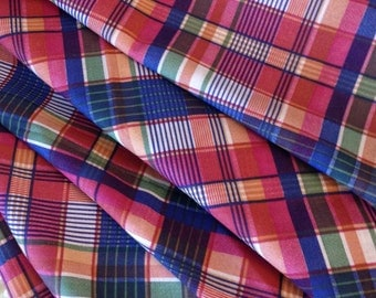 Vintage Printed Plaid Fabric - Orange and Blue - Fabric By the Yard