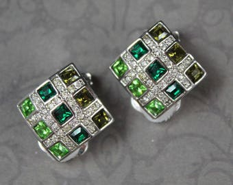 Vintage Nolan Miller Shades of Green Rhinestone Silver Square Clip On Earrings