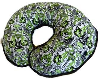 Baby Girl Boppy Pillow Cover Green Girly Skulls and Wings Nursing Pillow Cover