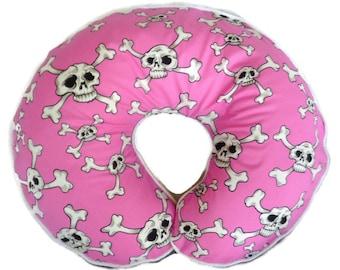 Baby Girl Boppy Pillow Cover Nursing Pillow Slipcover Pink White Skull and Crossbones Girly Baby Shower Gift Gothic Emo Punk Rock Rockabilly