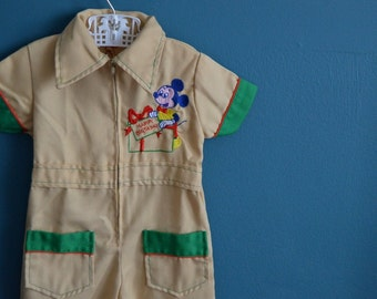 Vintage 1970s Tan Pantsuit with Mickey Mouse Appliques - Size 12 Months