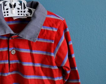 Vintage Early 80s Boy's Red and Blue Striped Shirt - Size 2T 3T