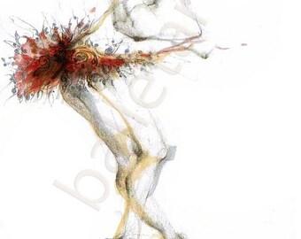 christmas sale dance art print, ballet improvisation, ballet art, prints illustrations, wall decor, artwork, dance illustration