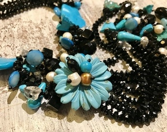 Beautiful Blue Turquoise Onyx Pearl Carved Flower Sterling Silver Vintage Bib Waterfall Necklace