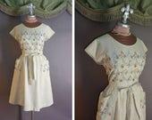50s dress. 1950s vintage NOVELTY DUTCH WINDMILL embroidery stripes people cotton Swirl wrap full skirt dress