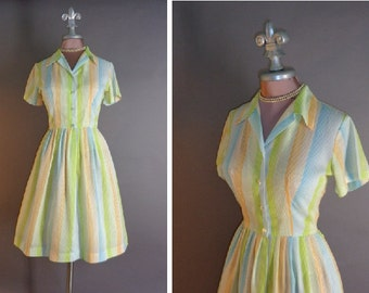 60s dress 1960s vintage PASTEL BRIGHTS STRIPES green blue orange white full skirt shirtwaist dress