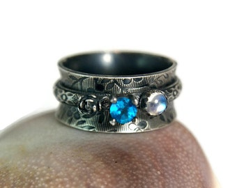 Neon Blue Apatite Sterling Silver Spinner Ring, Unique Blue Moonstone Ring, Ornate Style Jewelry