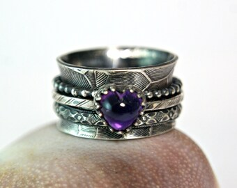 Heart Shape Amethyst Sterling Silver Spinner Ring, Unique Bohemian Style Metalwork Jewelry