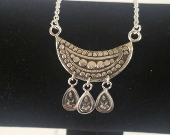 Sterling Silver - -Boho Moon and Stars- - Shield Necklace