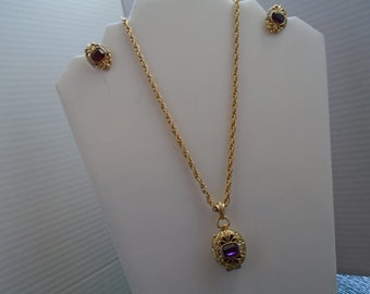 Locket Necklace With Matching Clip Screw Back Earrings With Rhinestones FREE Shipping