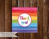 10% OFF SALE Rainbow Watercolor Favor Tag, Thank You Tag, Thank You Favor Tags, Art Party Favor Tag, Painting Party Favor Tag, PRINTABLE Des