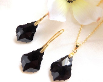 Bridesmaids jewelry, Black Baroque Crystal Drop necklace and Earrings, Gold, Jewelry set, Maid of Honor gift, Valentines day Gift