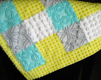 """Ready Made Small Vintage Chenille Baby / Lap Quilt """"Aqua White Grey and Yellow"""" 23.5"""" x 26.5"""""""