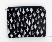 Small Zipper Pouch, Cactus Plants,Tiny and Spiny, Alexander Henry Fabric, Black Coin Purse