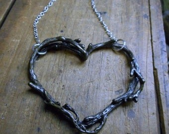 Rustic Love. Tree Branch Twig Tangled branches Heart Cut Out Pendant Necklace. Antiqued brass
