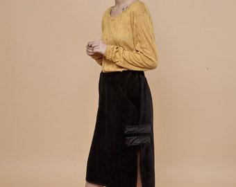 NEW! black velvet skirt - black midi skirt - black skirt - a line skirt - a-line skirt - velvet clothes - velvet clothing - winter clothing