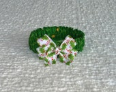 """Custom for Ashley - Swirls and Stars on Green Christmas Dog Scrunchie Collar - holly bow - Size S: 12"""" to 14"""" neck"""