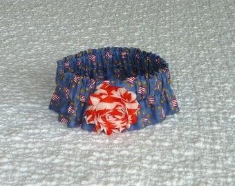 "Dog Ruffle Collar, Pet Bandana, Flags & Stars Dog Scrunchie Collar with striped shabby rose - Size M: 14"" to 16"" neck"