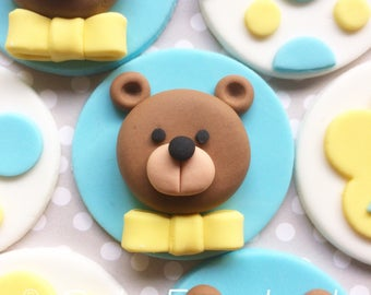 12 Teddy Bear birthday fondant cupcake toppers